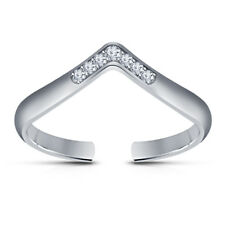 Shape Diamond Chevron Toe Ring For Womens 14k White Gold Over 925 Silver V