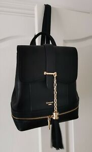 New Dune London Ladies Black Faux Leather Backpack Bag