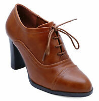 WOMENS TAN BROWN LACE-UP BROGUE ANKLE BOOTS SMART WORK COMFY SHOES SIZE 3-8