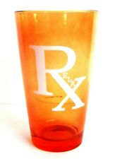 Vintage Orange Glass Rx Pharmacy Relax Tumbler Made in USA