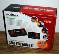 Commutateur Edimax EK-4USK KVM switch (4 port, USB, VGA + cables) NEUF !