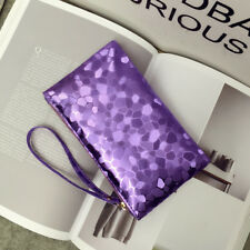 CLUTCH BAG PURSE PURPLE WITH WRIST STRAP LINED INTERIOR