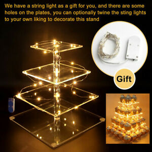 4 Tier Cupcake Cake Stand Tray Wedding Party Display Holder LED String