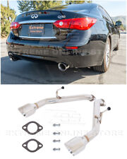 For 14-Up Infiniti Q50 Muffler Delete Axle Back Double Wall Dual Tips Exhaust