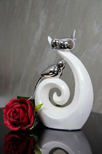 Deko Skulptur Herz Vogel Keramik modern Design Figur weiß silber 23cm B Ware 2