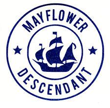 Mayflower Descendant Car Blue Glitter Mini Decal  + Free Shipping