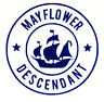 Mayflower Descendant Car Blue Glitter Mini Decal  + Free Shipping