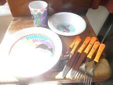 Childrens plastic cutlery, plates etc