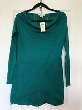 NEW Luxe ARDEN B Cowl Neck Jersey Knit Slouchy Tunic Asymmetrical SWEATER Top XS