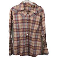 Wrangler Pearl Snap Women's Large Western Cowgirl Retro Long Sleeve Plaid Shirt