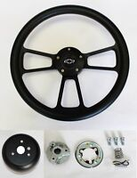 "Chevelle Nova Camaro Impala 14"" Steering Wheel Black on Black Bowtie Center cap"
