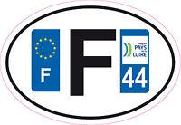 1 autocollant Oval Printed Sticker plaque d'immatriculation département 44