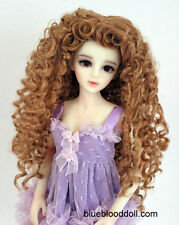 "1/4 1/6 bjd 6-7"" doll head copper red curly long wig dollfie yosd Luts minifee"