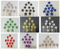 12 Glitter Stars Cupcakes Toppers Party Decoration Cup Cake Topper  Food Flags