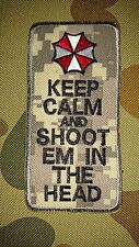 NEW RESIDENT EVIL UMBRELLA CORP KEEP CALM SHOOT DIGITAL GREY TACTICAL PATCH AUS