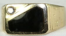 VINTAGE MENS 14K GOLD DIAMOND BROWN STONE RING size 13.25