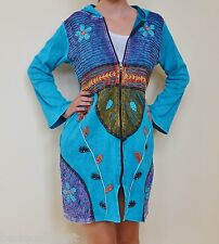 NEW HANDMADE IN NEPAL BLUE+ MULTI COLOR FlOWERS RIPPED OVER COAT HOODIE,SZ L,XL