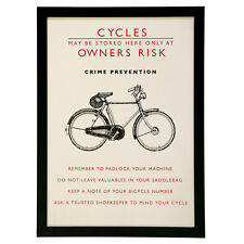 dotcomgiftshop BICYCLE SAFETY WALL ART. RETRO STYLE PICTURE IN BLACK FRAME