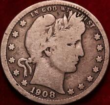1908-D Denver Mint Silver Barber Quarter