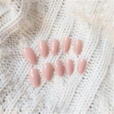 24Pcs/Set Light Pink Acrylic Nail Tips Oval Full Smooth False Nails Art Finger