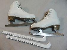 Risport Laser White Girls Figure Skates Mk Sheffield 21 Blades sz 225 C