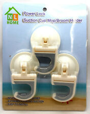 Power Lock Super Strong Suction Cup Hooks Hold 20 lbs Broom Mop Holder 3-Pack