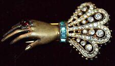 RARE Sterling Alfred Philippe Figural Hand w/Cabachon Ring & Lace Cuff Fur Clip!