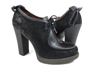 Luxury Rebel Paula Wallabee Black Heels Shoes Lace Up Leather Suede Sz 38 / 8