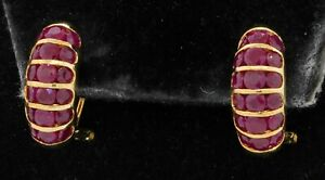 14K gold beautiful 4.0CTW ruby cluster curved earrings