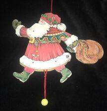Vtg Mary Engelbreit Christmas Ornament Wood Pull String Lg Santa Midwest Cannon