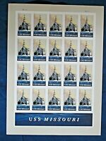 USS Missouri Stamps, Sheet of 20, Navy History: Mighty Mo Battleship Underway!