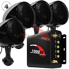 1000W Amp Bluetooth Motorcycle Stereo Waterproof 4 Speakers Audio Radio System
