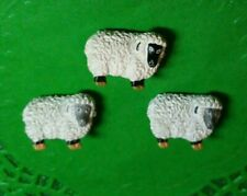 """~3 Large 1 1/8"""" Vintage Realistic Noah's Ark White Sheep Buttons~ for Lanyards~"""
