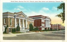 Fremont NE~First M E Church~Junior High School~Auditorium~Broad St~1920~Postcard