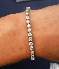 7.2 CT F SI IDEAL CUT NATURAL DIAMOND TENNIS BRACELET 14K WHITE GOLD 6.5 INCHES
