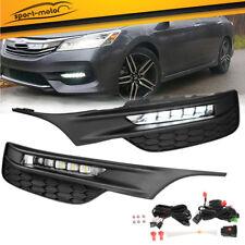 for 2016-2017 Honda Accord Sedan LED Clear Bumper Fog Lights Lamps+Wiring+Switch