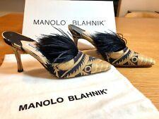 New Manolo Blahnik Damask w/ Feathers Mule Heel Shoes size 35