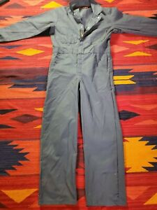 Red Kap Twill Action Back Coverall Chest Pockets Used Uniform Coveralls 38 Reg