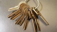 Lot of 9 Vintage Keys on Key Ring Jeco Yale Ilco Bill's Sargent Misc Old Keys