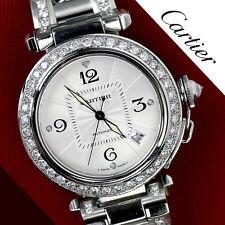 Diamante Cartier Pasha Automático Reloj Acero Inoxidable Completo Con Caja &
