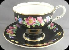 Paragon Black Floral Wild Rose Cup and Saucer