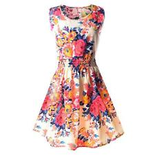 Fashion Summer Lady Big Size Print Mini Shivering Sleeveless Chiffon Sundress