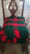 "Handmade Knit Crochet Christmas Afghan Sofa Bed Throw Blanket 62"" X 60"" XA1"