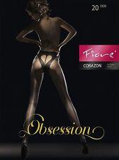 Collants Fantaisie Femme- Motif Coeur 20 den Fiore Corazon T 2/3/4 Noir Taille 2/s