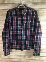 Boys Abercrombie & Fitch Long Sleeve Button Down Size M Medium Plaid Cotton