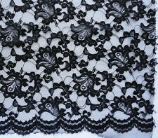"""Black Lace Light Fabric Poly Nylon w/ Over Stitch Outline Over Florals 44"""" x 78"""""""