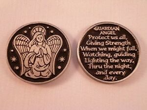 Guardian Angel Pocket Token Keepsake Coin Medal SOLID Protection Charm Verse New
