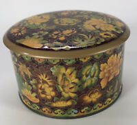 Vintage Daher Decorative Tin Storage Container Yellow Red Flowers Round England