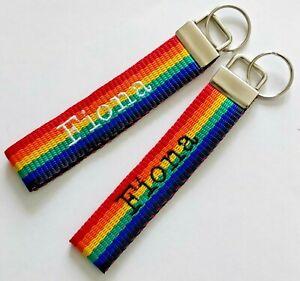 Keyring personalised rainbow LGBT PRIDE Lesbian Gay Bisexual Transgender Unisex