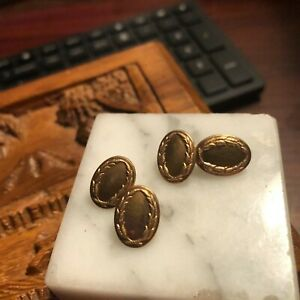 Antique Victorian Ornate Gold Filled  Emboss Repousse French Cufflinks